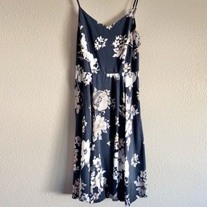 Gray beige floral fit and flare dress